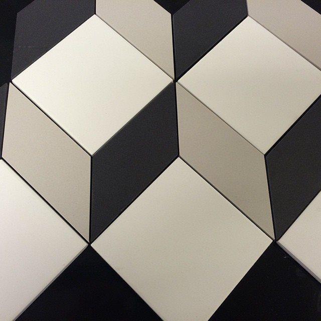 Carrelage cube géométrique pleine masse sur trame CUBO - 0.66m² - zoom