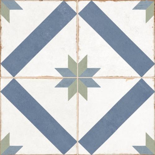 Carrelage style ciment étoile blanc et bleu OLD SCHOOL MARAU R10 45x45 cm - 1.42m² Dualgres
