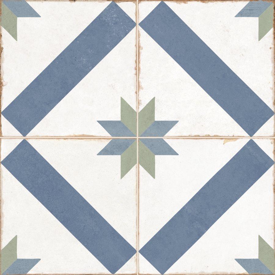 Carrelage style ciment étoile blanc et bleu OLD SCHOOL MARAU R10 45x45 cm - 1.42m² - zoom