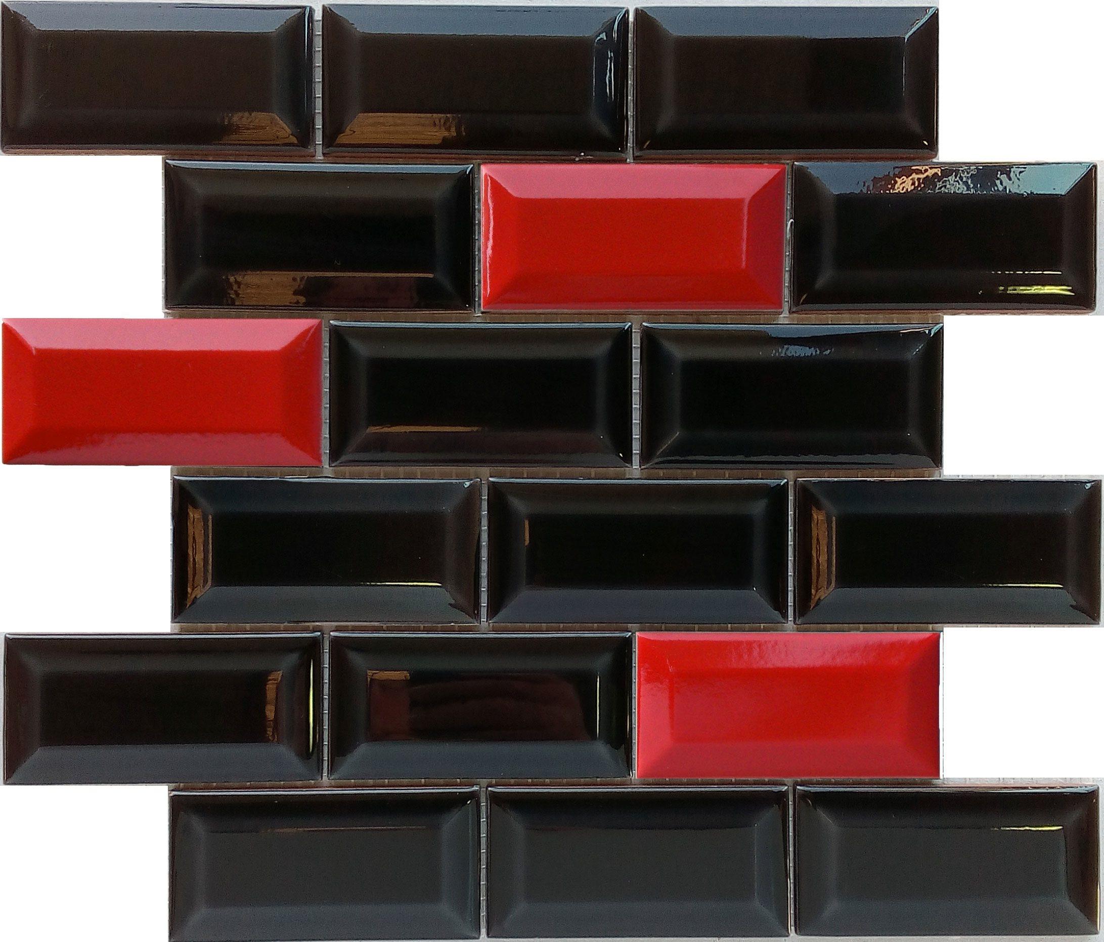 Mini carreau METRO MIX ROUGE ET NOIR 5x10 cm sur trame - unité - zoom