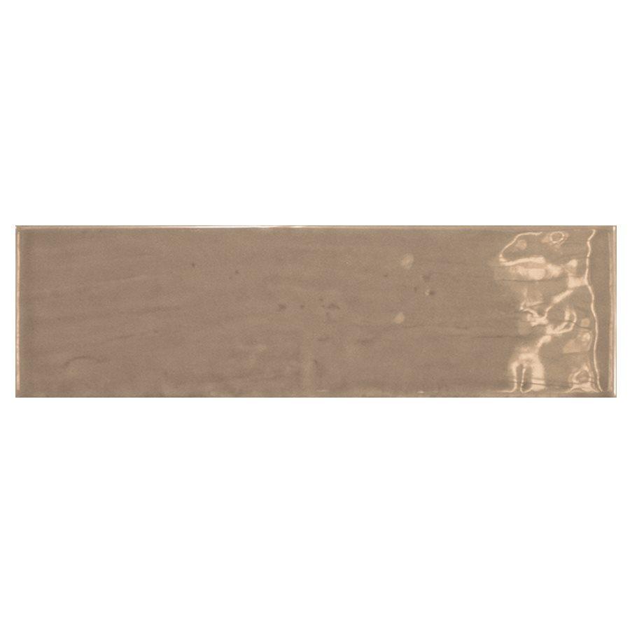 Carrelage uni brillant taupe 6.5x20cm COUNTRY TOBACCO 0.5m² - zoom