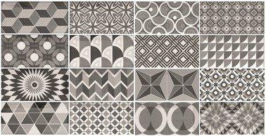 Carrelage METRO 21396 décor ciment PATCHWORK Noir et Blanc 7.5x15 cm - 0.5m² - zoom