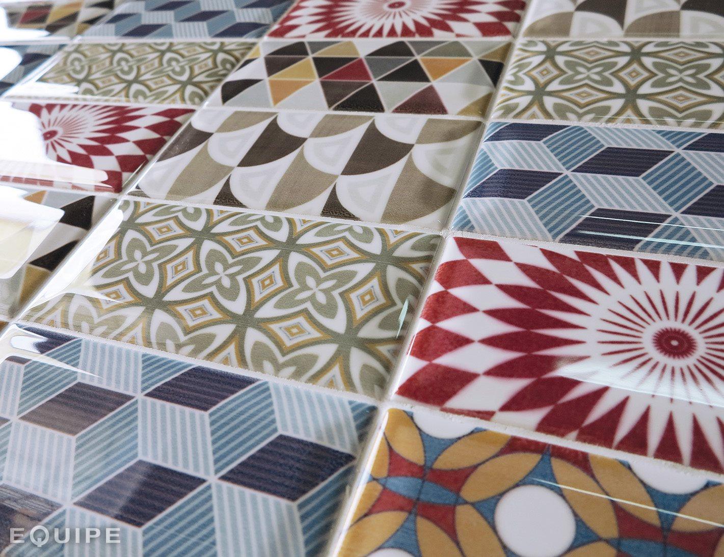 Carrelage METRO décor ciment PATCHWORK Colours 7.5x15 cm 20922 - 0.5m² - zoom