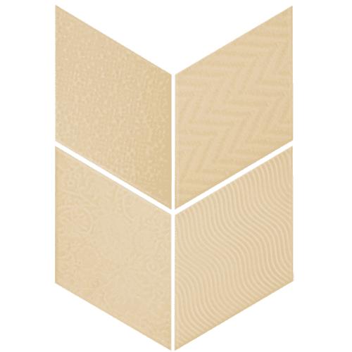 Carrelage losange diamant 14x24cm crème relief ref. 21291 RHOMBUS MAT - 1m² - zoom