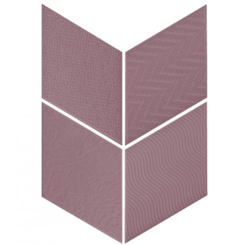 Carrelage losange diamant 14x24cm violet relief ref. 21313 RHOMBUS MAT - 1m² Equipe
