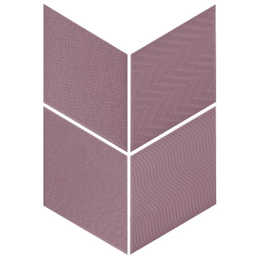 Carrelage losange diamant 14x24cm violet relief ref. 21313 RHOMBUS MAT - 1m² - zoom