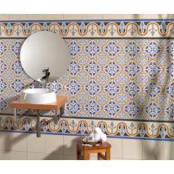 Carrelage style ancien bleu ESCOCIA DECO 44x44 cm - 1.37m² Realonda
