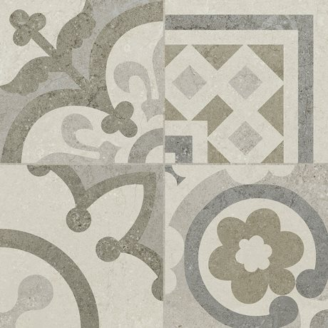 Carrelage Gris/Beige imitation décor carreau ciment 45x45 cm RIVIERA PEARL - 1.4m² - zoom