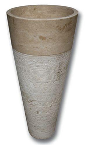 Vasque Colonne Conique Striée Travertin beige diam 42x85 cm - zoom