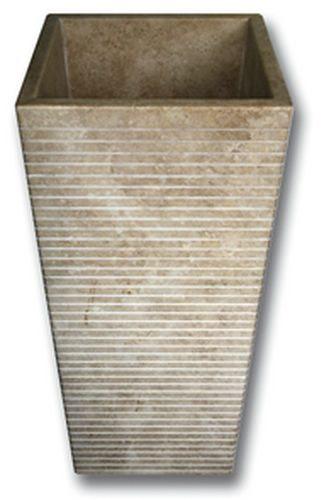 Vasque Colonne Carrée Grosses Stries Indonésie Beige 42x42x90 cm - zoom