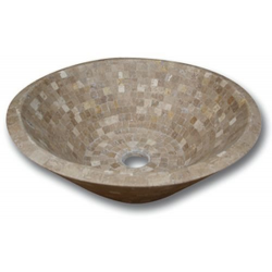 Vasque pierre Conique Mosaïque Travertin Noce 42x15 cm SF