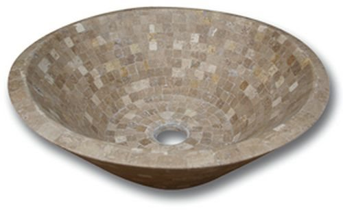 Vasque pierre Conique Mosaïque Travertin Noce 42x15 cm - zoom