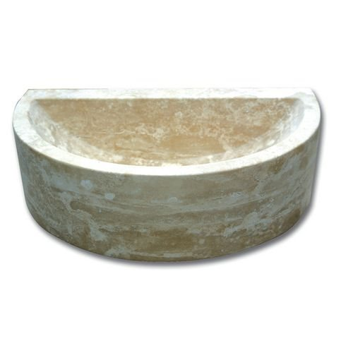 Demi vasque pierre travertin beige 42x26x12 cm SF