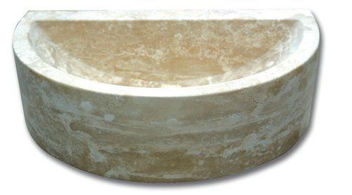 Demi vasque pierre travertin beige 42x26x12 cm - zoom