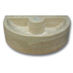 Demi vasque pierre travertin beige avec trou de robinet 42x26x12 cm SF