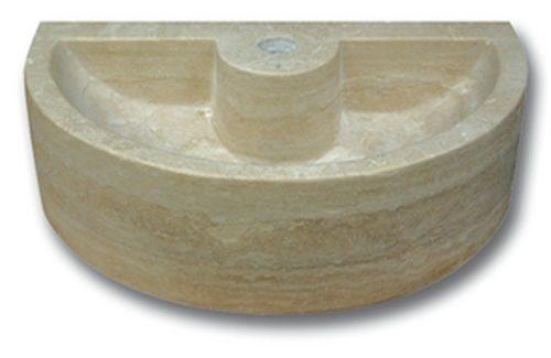 Demi vasque pierre travertin beige avec trou de robinet 42x26x12 cm - zoom