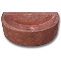 Demi vasque pierre travertin rouge 42x26x12 cm SF