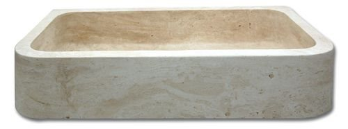 Evier pierre 1 bac Bords Ronds Travertin Beige 90x48x18 cm - zoom