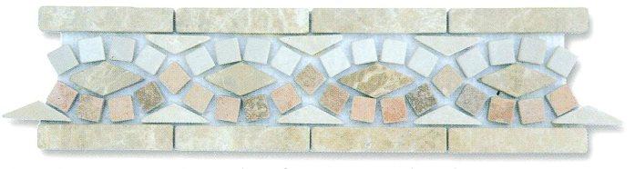 Frise pierre BSR Travertin Arizona / Marbre Beige BB / Marbre Beige Imperator 33x9 cm - zoom