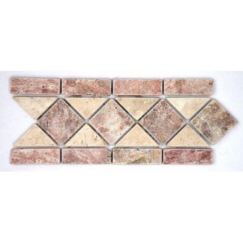 Frise pierre travertin Rouge / travertin Beige 508 28.5x10.5 cm - unité SF