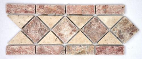 Frise pierre travertin Rouge / travertin Beige 508 28.5x10.5 cm - unité - zoom
