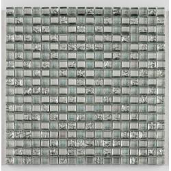 Mosaique salle de bain argent Glasmosaik silver ice 1.5x1.5 cm - 30x30 - unité Barwolf