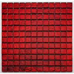 Mosaique salle bain Glasmosaik rouge 2.3x2.3 cm - 30x30 cm - unité Barwolf