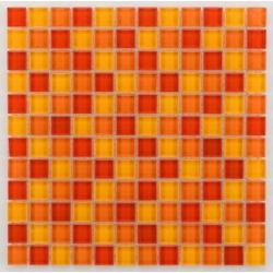 Mosaique salle de bain Glasmosaik orange 2.3x2.3 cm - 30x30 - unité Barwolf