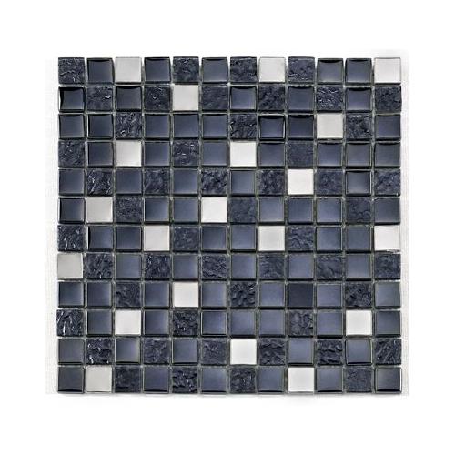 Mosaique noire Glas metall noir 2.3x2.3 cm - 30x30 - unité Barwolf
