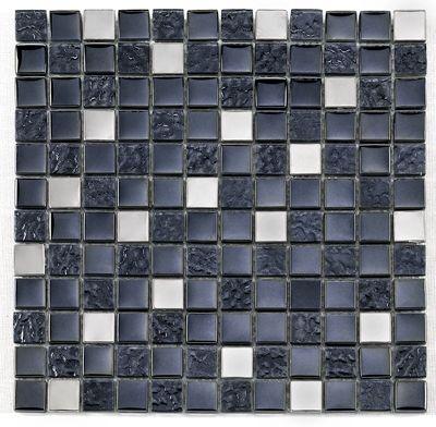 Mosaique noire Glas metall noir 2.3x2.3 cm - 30x30 - unité - zoom