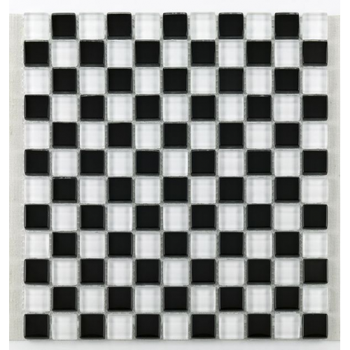 Mosaique salle bain Glasnaturstein noir et blanc 2.3x2.3 cm - 30x30 - unité Barwolf