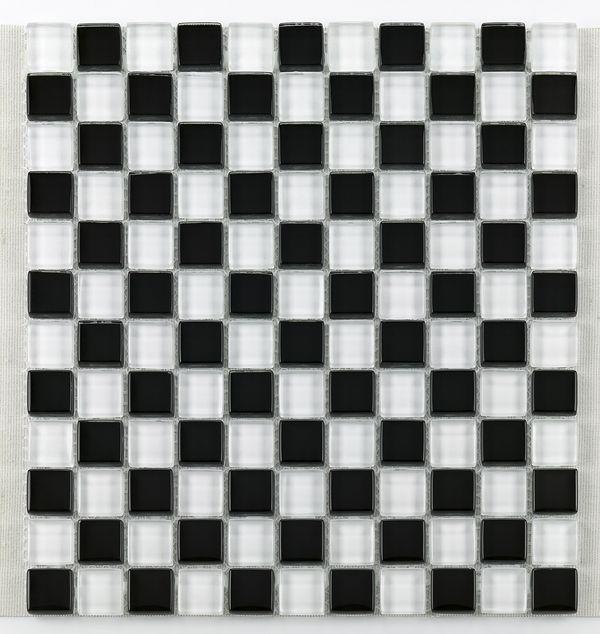 Mosaique salle bain Glasnaturstein noir et blanc 2.3x2.3 cm - 30x30 - unité - zoom