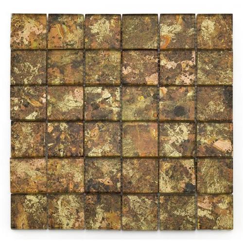 Mosaique salle de bain Glasmosaik dorée 4.8x4.8 cm - 30x30 - unité Barwolf