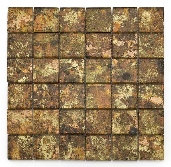 Mosaique salle de bain Glasmosaik dorée 4.8x4.8 cm - 30x30 - unité - zoom