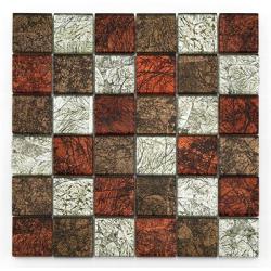 Mosaique Glasmosaik rouge brun et argent 4.8x4.8 cm - 30x30 - unité Barwolf