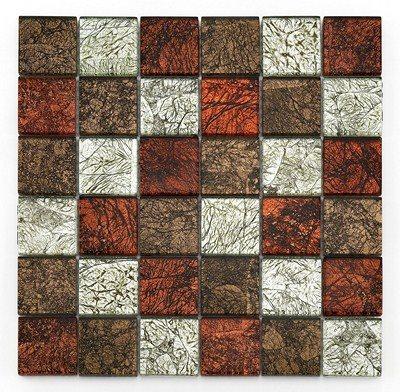 Mosaique Glasmosaik rouge brun et argent 4.8x4.8 cm - 30x30 - unité - zoom