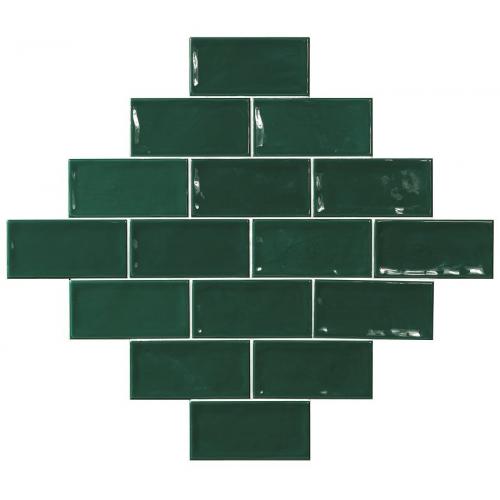 Carrelage effet zellige vert 7.5x15 GLAMOUR VERDE - 0.45m² El Barco