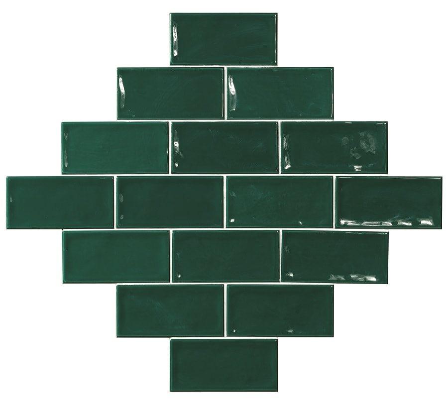 Carrelage effet zellige vert 7.5x15 GLAMOUR VERDE - 0.45m² - zoom