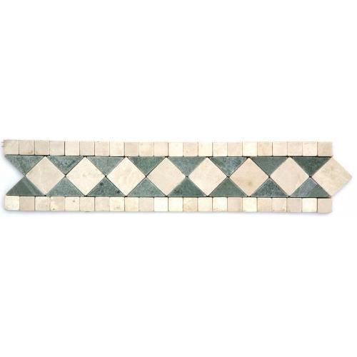 Frise pierre Marbre Vert Téos / Marbre Beige GM102 33.3x7 cm - unité SF