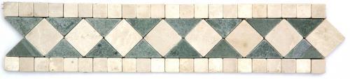 Frise pierre Marbre Vert Téos / Marbre Beige GM102 33.3x7 cm - unité - zoom