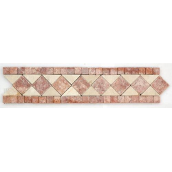 Frise pierre Travertin Rouge / Travertin Beige GM105 33.3x7 cm - unité SF