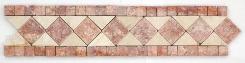 Frise pierre Travertin Rouge / Travertin Beige GM105 33.3x7 cm - unité - zoom