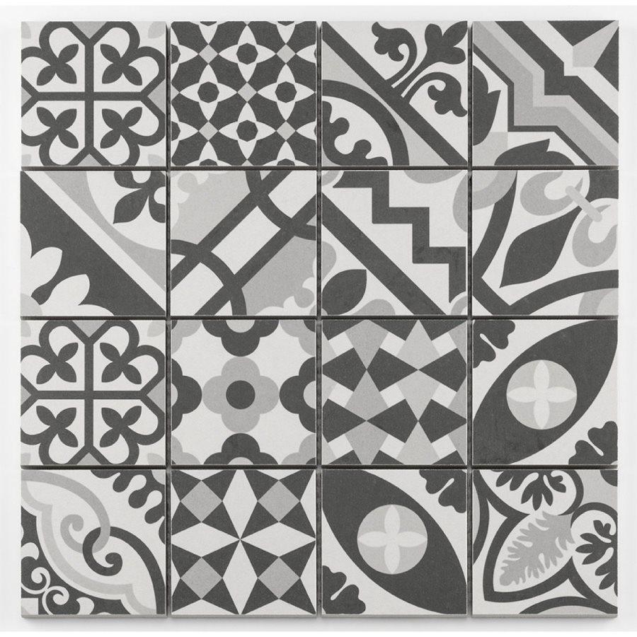 Mosaique grès cérame patchwork blanc white mosaïque 31.8x31.8cm KEG-14072 - unité - zoom