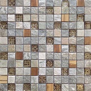 Malla Bamboo Crema - Mosaique bois marbre et verre 30x30cm - unité - zoom