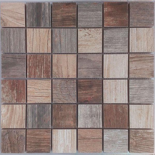 Malla Forest Mix - Mosaique imitation bois - grès cérame 29x29cm - unité - zoom