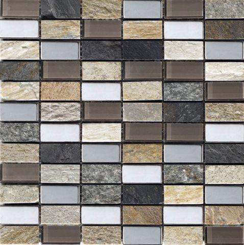 Mosaique Malla Myca - verre métal marbre 30x30 - boite de 0.72m² - zoom