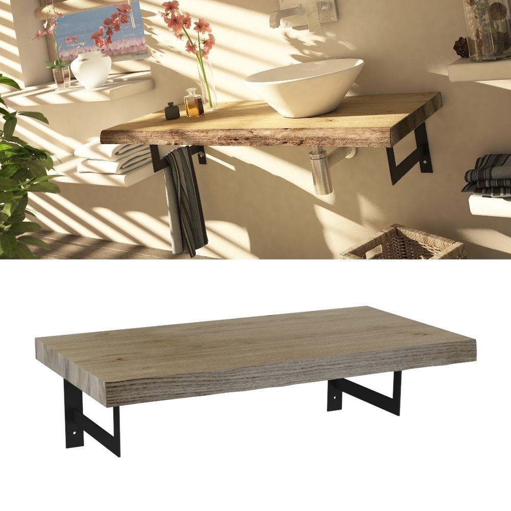 Meuble plateau bois de salle de bain épuré 90 cm MANYARA - zoom