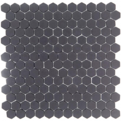 Mosaique Mini tomette hexagonale GRAPHITE23 25x13mm gris anthracite mat - 0.85m² Ston