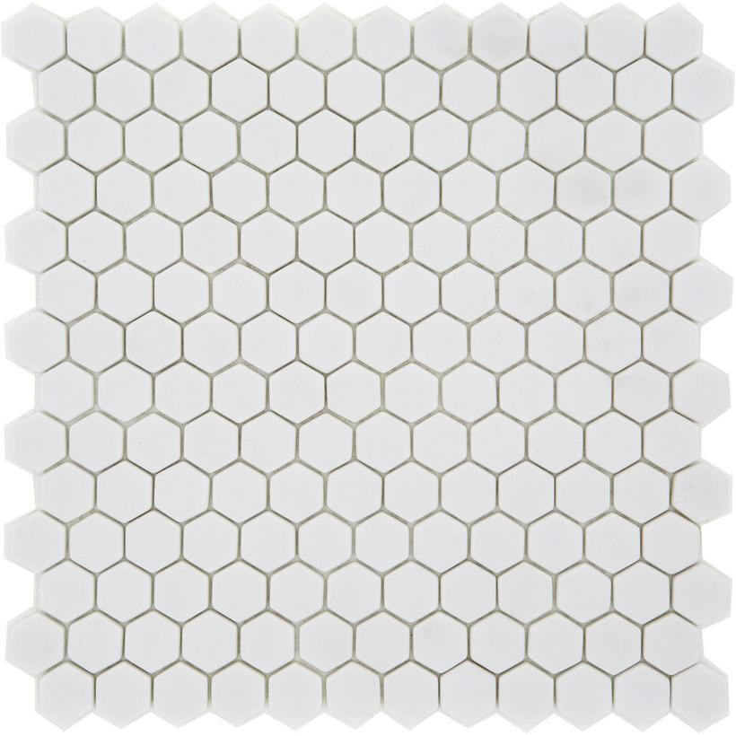 Mosaique Mini tomette hexagonale PURE23 25x13mm blanc mat - 0.85m² - zoom