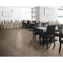 Carrelage RETRO imitation parquet vintage style chevron Point de Hongrie 21x60 cm R11 - 1m² Natucer